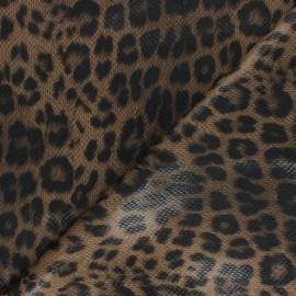 Tissu polyester élasthanne enduit Prince de Galles - marron x 10cm