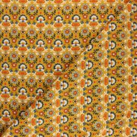 Tissu velours milleraies Poppy Ornemental Flowers - moutarde x 10cm
