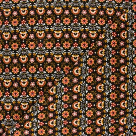 Poppy Milleraies velvet fabric - black Ornemental Flowers x 10cm