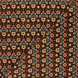Tissu velours milleraies Poppy Ornemental Flowers - noir x 10cm