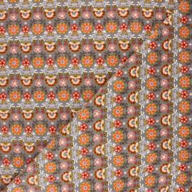Tissu velours milleraies Poppy Ornemental Flowers - gris x 10cm