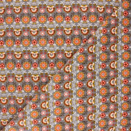 Poppy Milleraies velvet fabric - grey Ornemental Flowers x 10cm