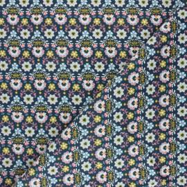 Tissu velours milleraies Poppy Ornemental Flowers - bleu x 10cm