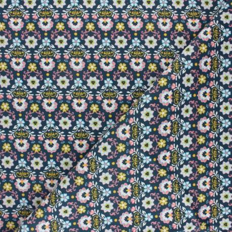 Poppy Milleraies velvet fabric - blue Ornemental Flowers x 10cm