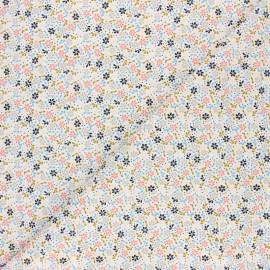 Poppy Milleraies velvet fabric - white Flower Fun x 10cm