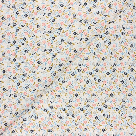 Poppy Milleraies velvet fabric - white Flower Fun x 10cm