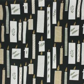 ♥ Coupon 10 cm X 140 cm ♥  Cotton fabric Rico Design - Black Christmas Candle