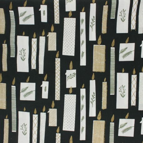 Cotton fabric Rico Design - Black Christmas Candle x 10cm