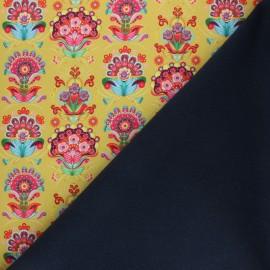 ♥ Coupon 110 cm X 145 cm ♥ Fiona Hewitt Softshell fabric – Mustard Folklore pop