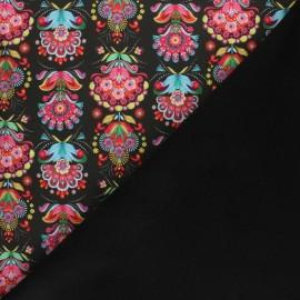 Tissu Softshell Fiona Hewitt Folklore pop - noir x 10cm