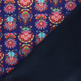 ♥ Coupon 130 cm X 145 cm ♥ Fiona Hewitt Softshell fabric – Navy blue Folklore pop