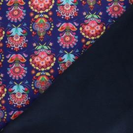 Tissu Softshell Fiona Hewitt Folklore pop - bleu marine x 10cm
