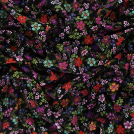 Tissu Viscose Prairie de fleurs - Rose x 10cm