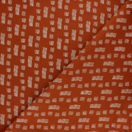 Poppy Sweatshirt fabric - brick red Funky stripes x 10cm