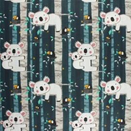 Tissu coton cretonne Summer camp - gris x 10cm