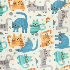 Cretonne cotton fabric - raw Cats x 10cm