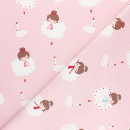 Cretonne cotton fabric - pink Pietra x 10cm