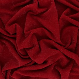 ♥ Coupon 40 cm X 150 cm ♥ Lurex knitted Fabric Glitter - Red
