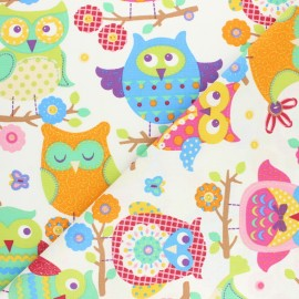 Cretonne cotton fabric - Grey Hou Hibou x 10cm