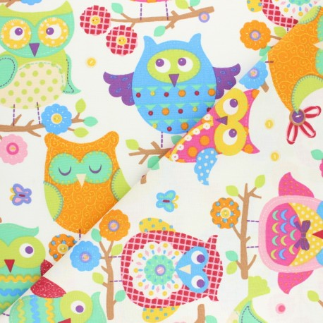 Cretonne cotton fabric - Grey Hou Hibou x 10cm