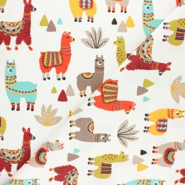 Cretonne cotton fabric - Pink Sergio The Llama x 10cm