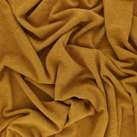 ♥ Coupon 130 cm X 150 cm ♥ Lurex knitted Fabric Glitter - Mustard
