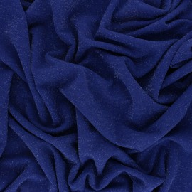 ♥ Coupon 50 cm X 150 cm ♥  Lurex knitted Fabric - royal blue Glitter