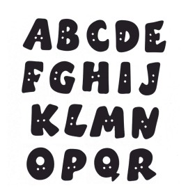 Bouton Polyester Alphabet 18 mm - Noir