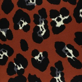 Crepe fabric - brick red Leopardino x 10cm