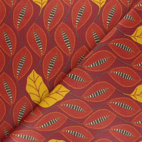 Coated cretonne cotton Fabric- red Mexicalia x 10cm