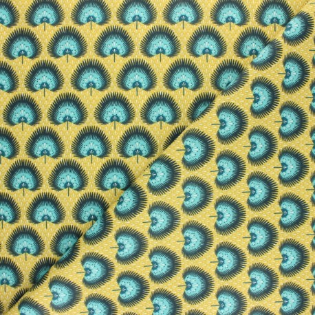 Coated cretonne cotton Fabric - Terracotta Bénaria x 10cm