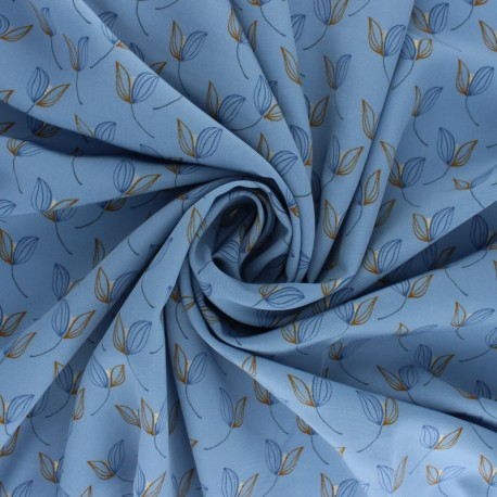 Polyester satin fabric Pearl Peach Leaf by Penelope® - Blue x 10cm
