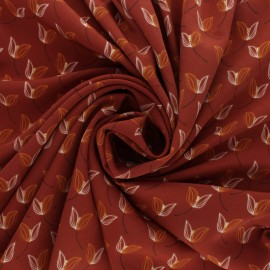 Polyester satin fabric Pearl Peach Leaf by Penelope® - Red brick x 10cm