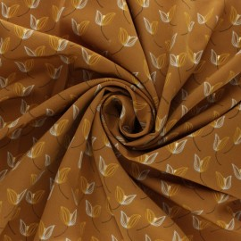 Polyester satin fabric Pearl Peach Leaf by Penelope® - Mustard x 10cm