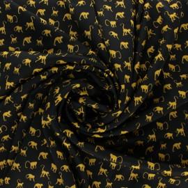 Tissu Royal micro satin by Penelope® Monkey - noir x 10cm