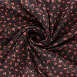 Tissu Royal micro satin by Penelope® Monkey - chocolat x 10cm
