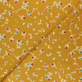 ♥ Coupon 75 cm X 145 cm ♥ Polyester satin fabric Pearl Peach Bouquet by Penelope® - Mustard
