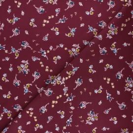 Tissu polyester satiné Pearl Peach Bouquet by Penelope® - Bordeaux x 10cm