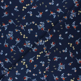 ♥ Coupon 10 cm X 145 cm ♥ Polyester satin fabric Pearl Peach Bouquet by Penelope® - Navy blue