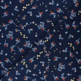 ♥ Coupon 10 cm X 145 cm ♥ Tissu polyester satiné Pearl Peach Bouquet by Penelope® - Bleu marine
