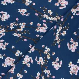 Tissu Modal Jersey Fleur de cerisier by Penelope® - bleu marine x 10cm
