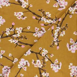 Tissu Modal Fleur de cerisier by Penelope® - moutarde x 10cm