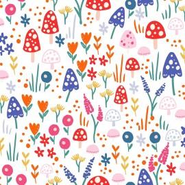 Tissu popeline Primrose Fabrics - Mushrooms forest - blanc x 10 cm