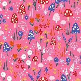 Primrose Fabrics cotton fabric - pink Mushrooms forest x 10 cm