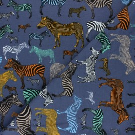 French Terry Fabric - blue Zebra Business x 10cm