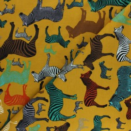 French Terry Fabric - mustard Zebra Business x 10cm