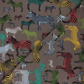 French Terry Fabric - brown Zebra Business x 10cm