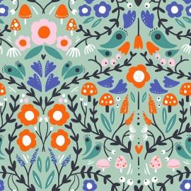 Tissu popeline Primrose Fabrics - Follow the path - bleu x 10 cm