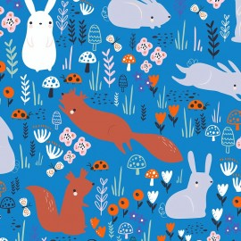 Primrose Fabrics cotton fabric - Blue Little Friends x 10 cm