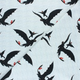 Poppy Jersey fabric - Grey Dragons x 10cm